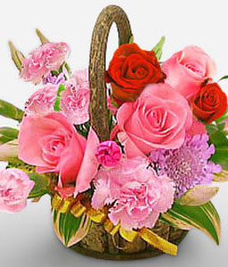 In Full Bloom-Pink,Red,Rose,Carnation,Arrangement,Basket