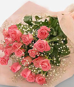 12 Pink Roses-Pink,Rose,Bouquet