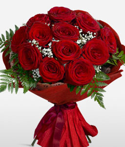 Muted Elegance-Red,Rose,Bouquet