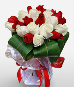Blushing Reds-Red,White,Rose,Bouquet