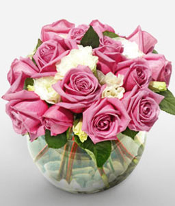 Roseate Affair - Mixed Roses-Pink,White,Rose,Arrangement