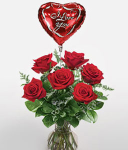 Amor Heights-Red,Balloons,Rose,Arrangement