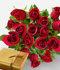 Dozen Roses & Chocolates-Red,Chocolate,Rose,Arrangement,Bouquet