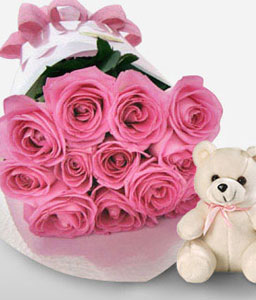 Dreamy Mists - 12 Pink Roses & Teddy-Pink,Rose,Teddy Bear,Bouquet