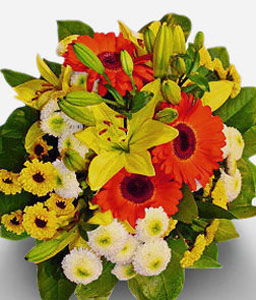 Sun Glow-Orange,White,Yellow,Chrysanthemum,Daisy,Gerbera,Lily,Mixed Flower,Arrangement