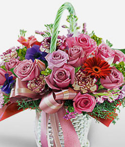 Modern Charm-Blue,Pink,Red,Carnation,Daisy,Gerbera,Iris,Mixed Flower,Rose,Arrangement,Basket