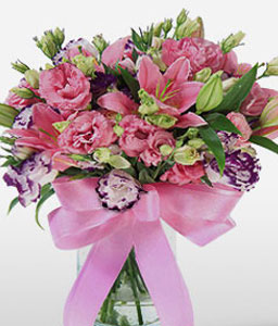Oriental Mantra-Pink,Carnation,Lily,Mixed Flower,Rose,Arrangement