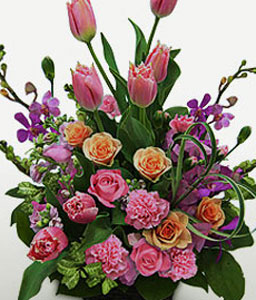Pink Splendor-Pink,Mixed Flower,Rose,Arrangement,Basket