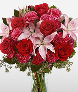 Amassed Hue-Pink,Red,Rose,Mixed Flower,Lily,Carnation,Arrangement