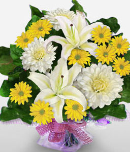 Morning Symphony-White,Yellow,Mixed Flower,Bouquet
