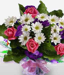 Divine Sophistication-Mixed,Pink,Purple,White,Chrysanthemum,Mixed Flower,Rose,Bouquet