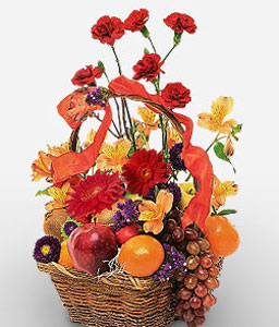 Fruits and Flowers Basket-Mixed Flower,Fruit,Basket