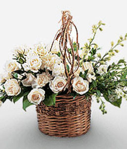 Sistine Chapel-White,Rose,Carnation,Arrangement,Basket