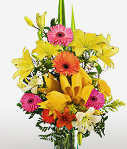 Amazon Allure-Mixed,Pink,Red,Yellow,Alstroemeria,Gerbera,Lily,Mixed Flower,Arrangement