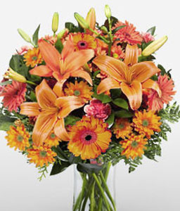 Santa Fe - Mixed Flowers In Orange-Orange,Gerbera,Lily,Arrangement