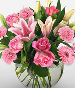 Majestic Fervor-Pink,Rose,Mixed Flower,Lily,Gerbera,Daisy,Carnation,Arrangement