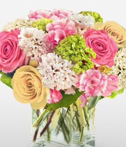 Picture Perfect - Roses & Carnations-Green,Mixed,Pink,Yellow,Carnation,Mixed Flower,Rose,Arrangement