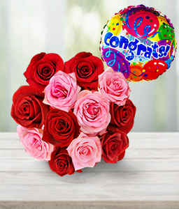 Bati Bouquet <Br><Font Color=Red>12 Roses & Free Balloon </Font></Br>