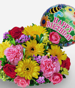 Happy Day-Mixed,Pink,Red,Yellow,Balloons,Carnation,Daisy,Gerbera,Mixed Flower,Rose,Bouquet