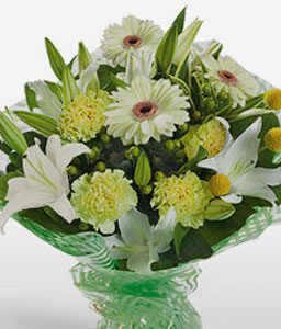 Mayan Majestic-Green,White,Yellow,Carnation,Daisy,Gerbera,Bouquet