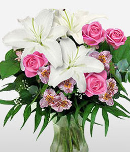 Serenity-Pink,White,Lily,Rose,Bouquet