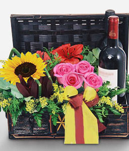 Celebrations Gift Basket-Mixed,Pink,Red,Yellow,Gerbera,Mixed Flower,Rose,SunFlower,Wine,Basket,Hamper