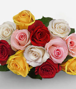 Pink Charisma-Mixed,Pink,Red,White,Yellow,Rose,Bouquet