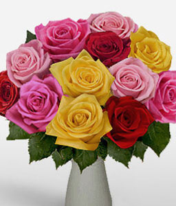 A Dozen Rainbow Roses-Pink,Red,Yellow,Rose,Arrangement