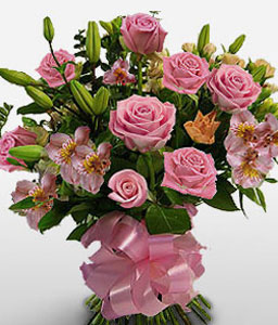 Vivid Dreams - Roses & Lilies-Pink,Rose,Bouquet