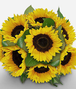 Golden Blooms-Green,Yellow,SunFlower,Bouquet