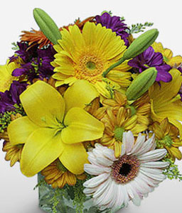 Colourful Dreams-Blue,Mixed,Purple,Violet,White,Yellow,Daisy,Gerbera,Lily,Mixed Flower,Bouquet