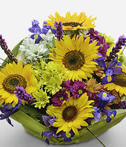 Addiction-Blue,Mixed,Purple,Violet,Yellow,Daisy,Gerbera,Iris,Mixed Flower,SunFlower,Bouquet