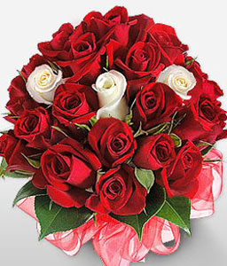 Gift Of Love-Red,White,Rose