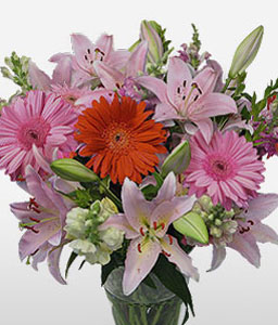 Complete Bouquet-Orange,Pink,Gerbera,Lily,Arrangement