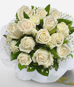 Cancun Indulgence-White,Rose,Bouquet,Sympathy