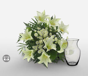 Bouquet Viva-White,Chrysanthemum,Lily,Arrangement