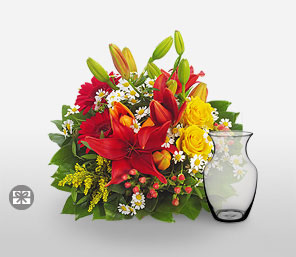 Legends Of The Fall-Green,Mixed,Red,White,Yellow,Rose,Mixed Flower,Lily,Gerbera,Daisy,Arrangement