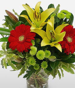 Canberra Charms - Mix Flower Bouquet-Green,Mixed,Red,Yellow,Gerbera,Lily,Mixed Flower,Bouquet