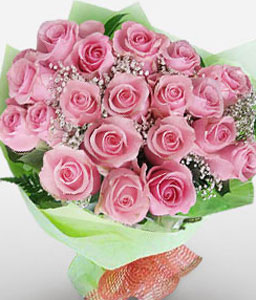 Long Stem Pink Rose Bouquet-Pink,Rose,Bouquet