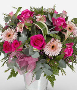 Fashion Kapitol-Pink,Alstroemeria,Daisy,Gerbera,Mixed Flower,Rose,Arrangement