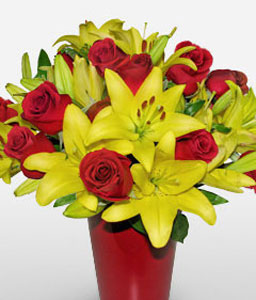 Paraty Opulence-Mixed,Red,Yellow,Rose,Mixed Flower,Lily,Arrangement