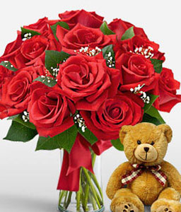 Lady In Red <Br><span>One Dozen Red Roses & Free Teddy Bear </span>