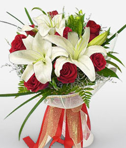 Delightful Duo - Roses & Lilies-Red,White,Lily,Rose,Bouquet