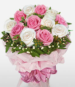 Perfect Rhythm-Pink,White,Rose,Bouquet