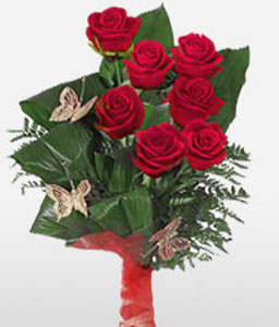 Farfalla Bella-Red,Rose,Bouquet
