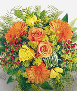 Da Vinci-Orange,Yellow,Daisy,Gerbera,Rose,Bouquet