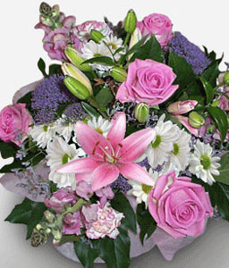 Debonair-Pink,Purple,White,Daisy,Gerbera,Lily,Mixed Flower,Rose,Bouquet