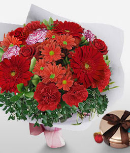 Red Hot Passion-Mixed,Orange,Pink,Red,Rose,Mixed Flower,Gerbera,Daisy,Chrysanthemum,Chocolate,Carnation,Bouquet