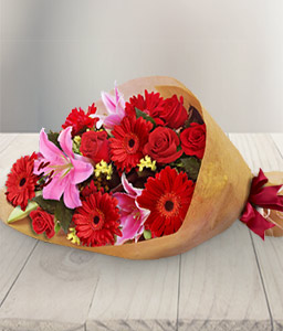 Scarlet Blush - Bouquet of Mixed Flowers-Pink,Red,Daisy,Gerbera,Lily,Rose,Bouquet
