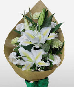 Roxas Boulevard-White,Carnation,Lily,Bouquet,Sympathy